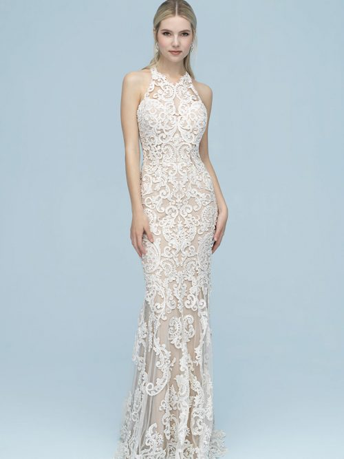 9604 Allure Bridals This sleeveless column sheath