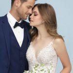 9624 Allure Bridals Slim beaded strap