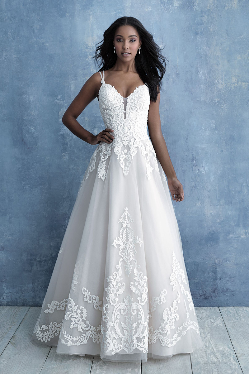 ballgown features gorgeous appliques and a double spaghetti strap